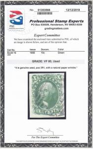 16 Choice XF used neat cancel PSE graded 80 with nice color ! see pic !