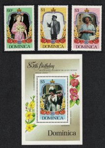 Dominica Life and Times of Queen Elizabeth the Queen Mother 3v+MS SG#949-MS952