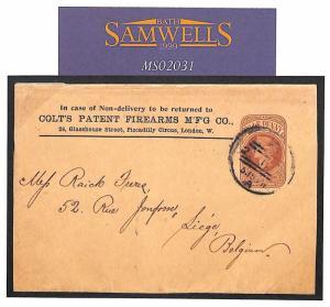 MS2031 1890s GB USA GUNS Stationery Advert *COLT PATENT FIREARMS*Imprint Wrapper