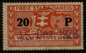 Danzig Frei Stadt Poland Germany 20P Wechselsteuer Exchange Fee Revenue St 90917