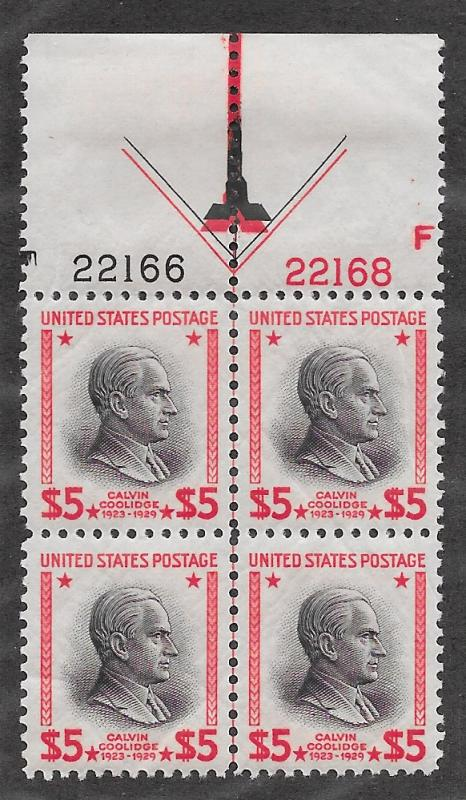 834 Unused, Superb, $5 Coolidge, Plate Block,  scv: $350