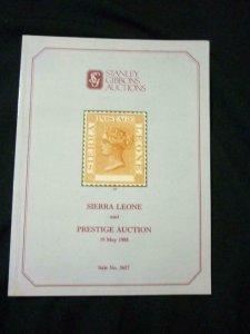 STANLEY GIBBONS AUCTION CATALOGUE 1988 SIERRA LEONE & PRESTIGE AUCTION