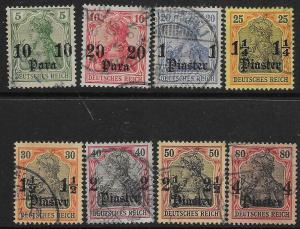 GERMAN P.O.'S IN TURKISH EMPIRE SG35/42 1905 DEFINITIVE SET TO 4pi USED