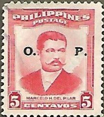Philippines #592 5c Marcelo Del Pilar USED Official (1953) w/ 'O.P.' overprint