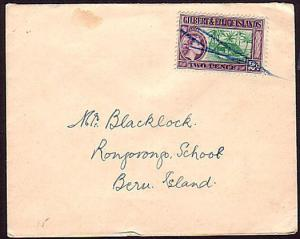 GILBERT & ELLICE IS 1950s local cover to Beru with Manuscript cancel
