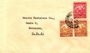 Barbados 1/2d (2) and 2d Seal of the Colony 1947 to Omaha, Nebr.  Cancel unre...