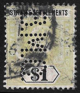 Straits Settlements # 102 Used~ Perfin B. M. C. ~
