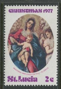 St. Lucia - Scott 428 - Christmas -1977 - MNH -Single 2c Stamp
