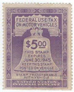 (I.B) US Revenue : Motor Vehicle Tax $5 (1945)