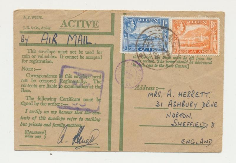 ADEN 1944, ACTIVE SERVICE RAF CENSOR COVER, TO UK , 9a RATE