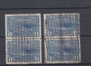 2 x pairs of #262 $1.00 Destroyers, 1 pair SUPERB Canada used Cat $40-$44