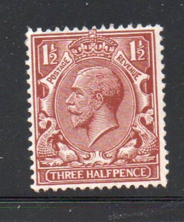 Great Britain Sc 161 1912 1 1/2d red brown George V stamp mint