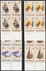 ST HELENA 1981 Shells set in plate blocks of 4 MNH.........................51687
