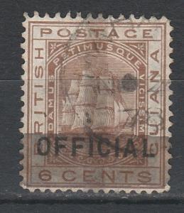 BRITISH GUIANA 1878 SHIP PROVISIONAL 1C/6C 2 HORIZ AND 1 VERT BAR USED