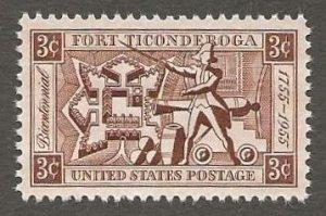 US#1071 1955 3c Fort Ticonderoga, XF+ MNH * #S23