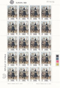 Cyprus # 560-561, Europa, Wholesale Sheets of 20, NH, 15% of Cat