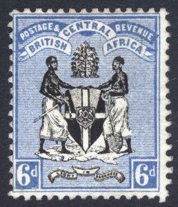 Nyasaland BCA 1895 6d Black & Blue Arms NO WMK SG 24 Scott 24 MM/MH Cat£85($106)