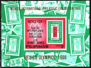 Philippines. 1968. bl III. Stamps on stamps, Philatelic Exhibition. MNH.
