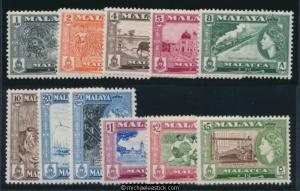 1957 Malaya Malacca Set of 11 SG 39-49 MLH