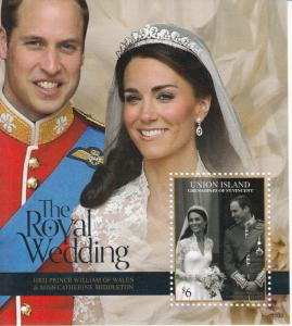 Union Island Grenadines St Vincent 2011 MNH Royal Wedding 1v S/S William Kate