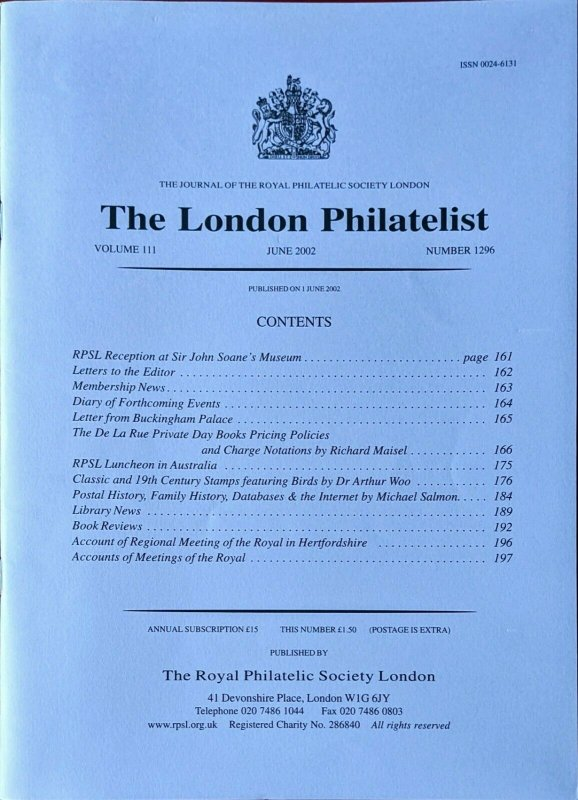 DE LA RUE PRIVATE DAY BOOKS PRICING POLICIES and CHARGE NOTATION Stamp Printing