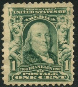 US Sc#300 1903 1c Franklin Fine Centered Part OG Mint Hinged