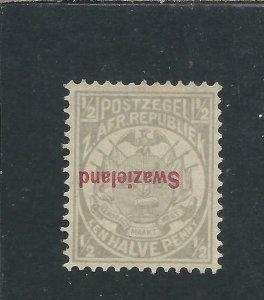 SWAZILAND 1892 ½d GREY OVERPRINT INVERTED MM SG 10a PHIL FED OF SA CERT CAT £500