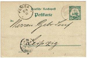 German East Africa 1902 Korogwe cancel on postal card to Leipzig, Bickerdike cxl