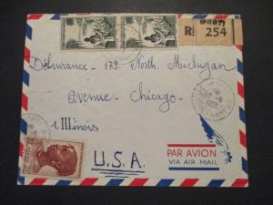 1953 Dakar Senegal French Colony to Chicago Illinois Registered Airmail Cover