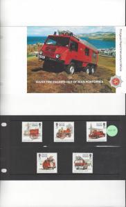 Isle of Man 477-81 Manx Fire Engines 1991  MNH Presentation Folder