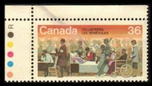 CANADA 1987 36c #1132 VOLUNTEERS VF USED UL CORNER WITH TRAFIC LIGHTS