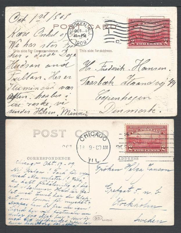 Scott #372, Two cards to Scandanavia, Usages to Foreign D...