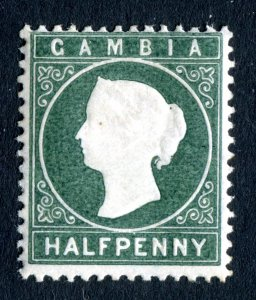 Gambia 1886 QV. 1/2d myrtle green. Mint Hinged. Crown CA. SG21.