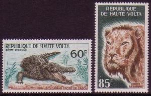 Upper Volta Lion Crocodile Fauna 2v 1965 MNH SG#167-168 MI#170-171 CV£7.25