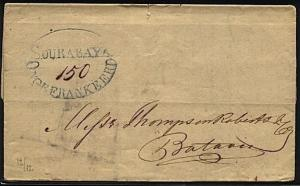 NETHERLANDS INDIES 1839 folded letter SOURABAYA / ONGEFRANKEERD in oval....20128