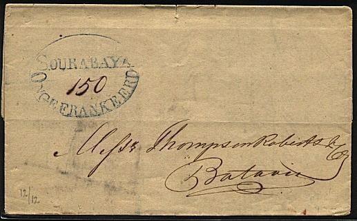 NETHERLANDS INDIES 1839 folded letter SOURABAYA / ONGEFRANKEERD in oval....20128