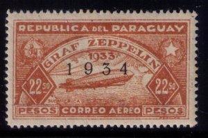 PARAGUAY #C91  AIIRSHIP GRAF ZEPPELIN MINT, VERY LH ,OG OVERPRINTED 1934 VF