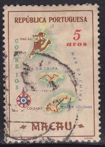 Macao 385 Map of the Colony 1956