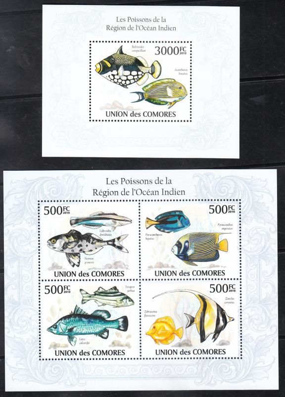 Comoro Islands  2010  Fishes  Marine Life  M/S + 4v S/S (2) Sheets  75445