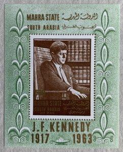 Mahra 1967 JFK Kennedy MS, MNH. Michel BL 1A, CV €12.00.  US Presidents