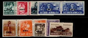 SOUTH WEST AFRICA GVI SG114-122, complete set, M MINT. Cat £50.