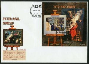 TOGO 2019  PETER PAUL RUBENS PAINTINGS  SOUVENIR  SHEET FIRST DAY COVER