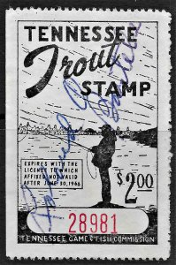 US 1966 TN Trout Stamp VF used