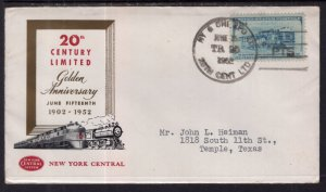 US Golden Anniversary 20th Century Limited,New York Central Railroad 1952 Cover