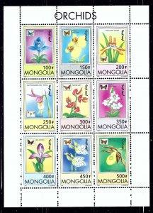 Mongolia 2269-77 MNH 1999 butterflies and orchids sheet    (ap1586)