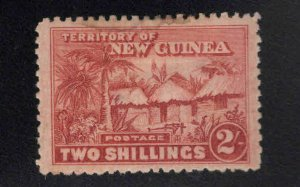 New Guinea Scott 10 MH* Red Brown stamp tiny thin at back center