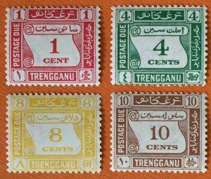 Malaya 1937 TRENGGANU Postage Due set of 4V Mint SG#D1-D4 M2981