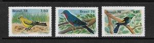 BIRDS - BRAZIL #1557-9   MNH