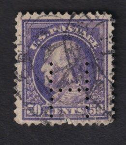US 1917 50c Ben Franklin Postage Stamp Perf 11 Perfins H