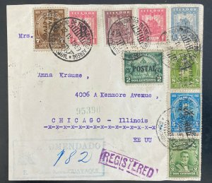 1932 Guayaquil Ecuador Airmail Cover To Chicago IL Usa Advertising Seal
